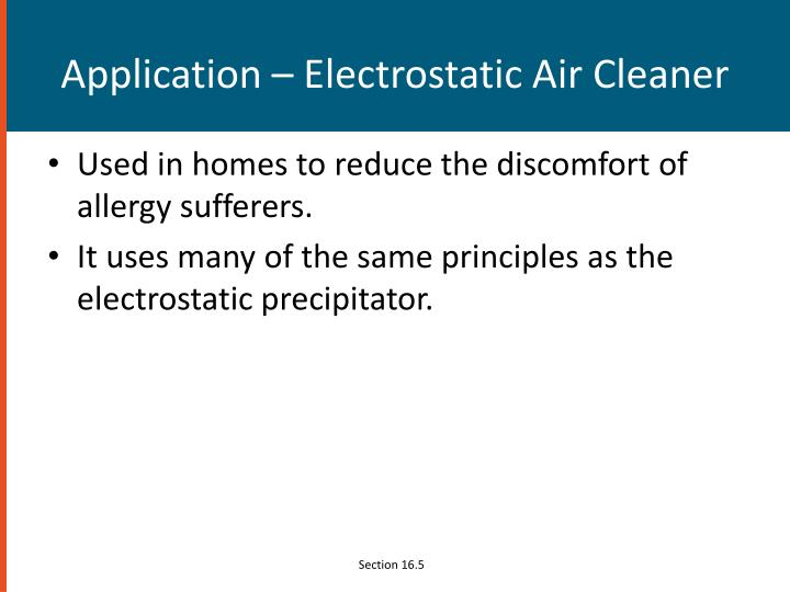 Application – Electrostatic Air Cleaner