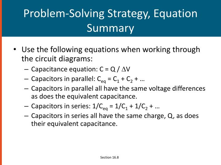 Problem-Solving Strategy, Equation Summary