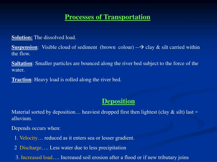 Processes of Transportation