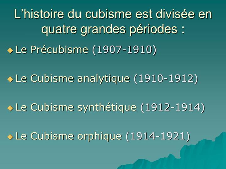 L'histoire du cubisme est divisée en quatre grandes périodes :
