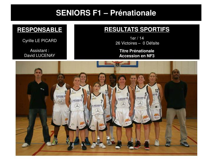SENIORS F1 – Prénationale