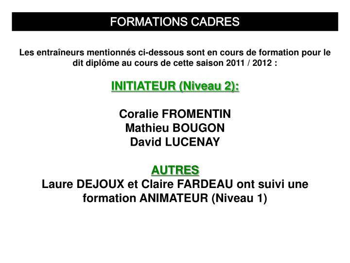 FORMATIONS CADRES