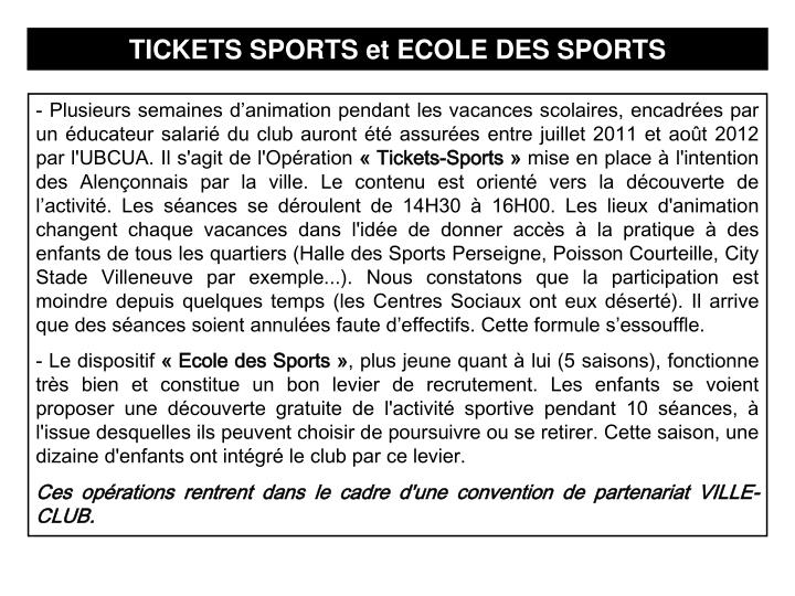 TICKETS SPORTS et ECOLE DES SPORTS