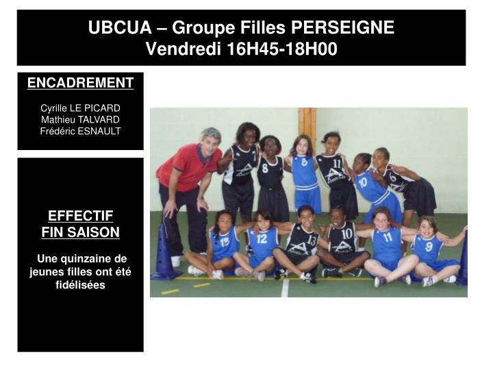 UBCUA – Groupe Filles PERSEIGNE