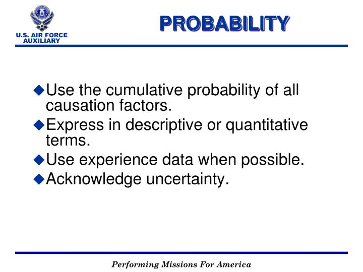 Use the cumulative probability of all causation factors.