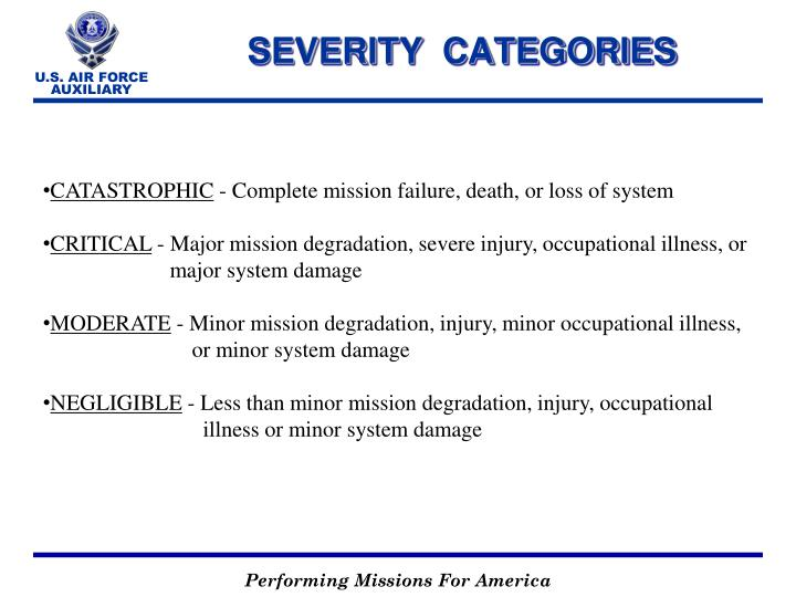 SEVERITY  CATEGORIES