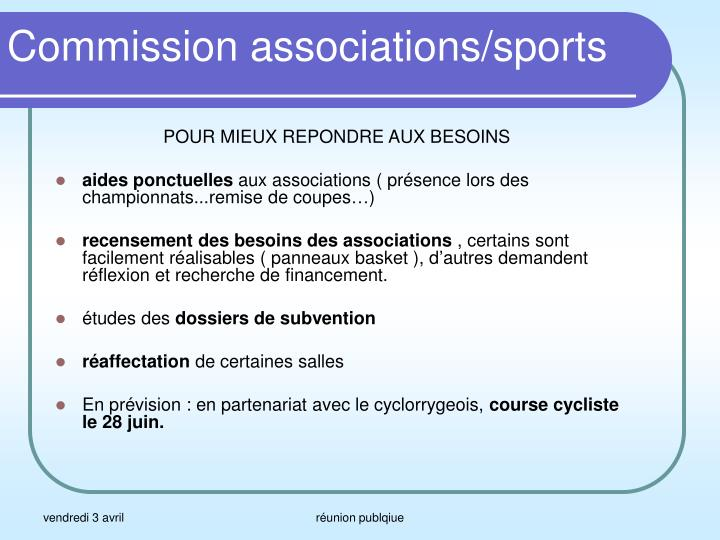 Commission associations sports