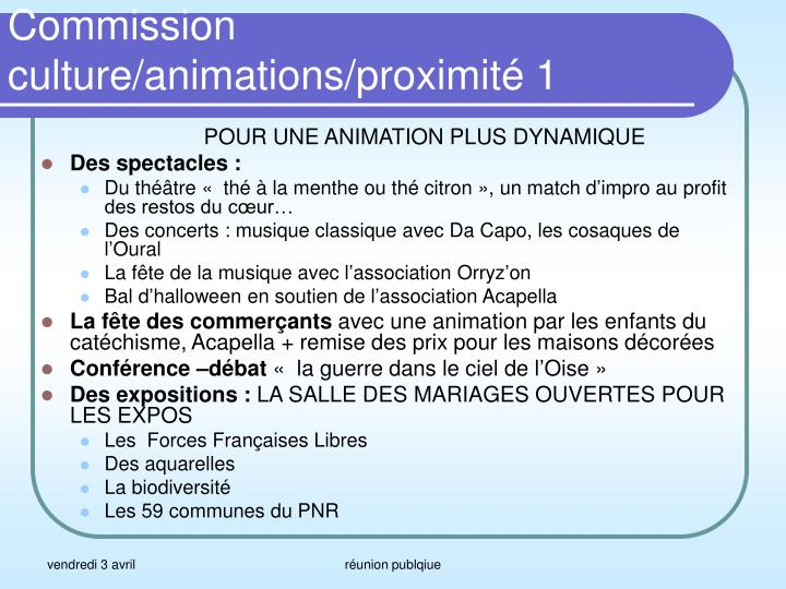 Commission culture/animations/proximité 1