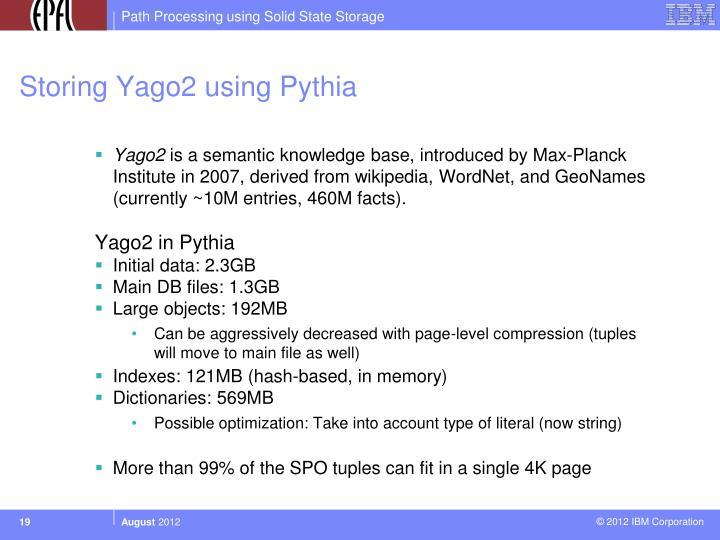 Storing Yago2 using Pythia