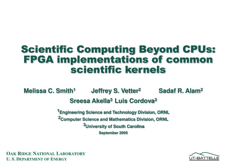 scientific computing beyond cpus fpga implementations of common scientific kernels