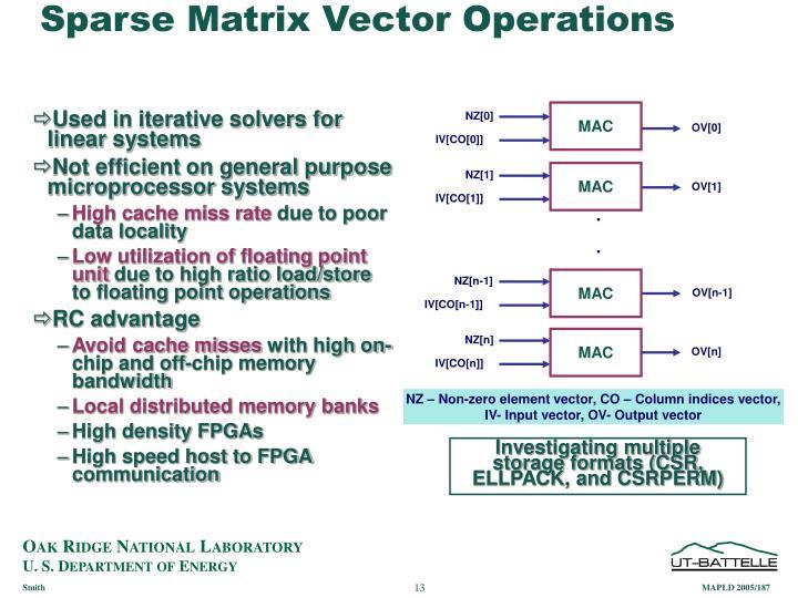 Sparse Matrix Vector Operations