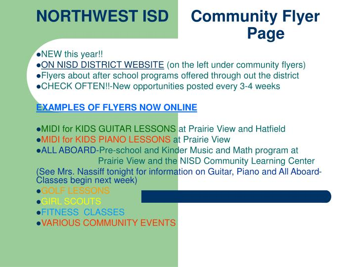 Northwest isd community flyer page