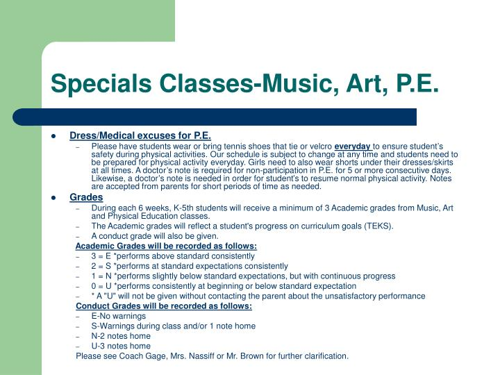 Specials Classes-Music, Art, P.E.