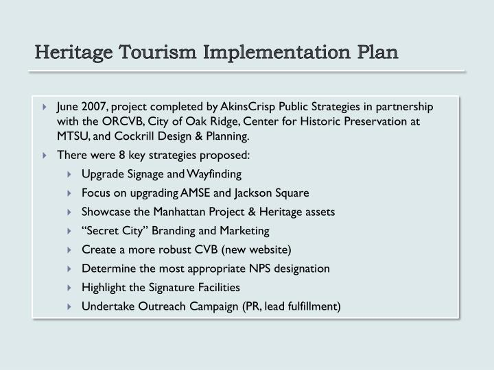 Heritage Tourism Implementation Plan