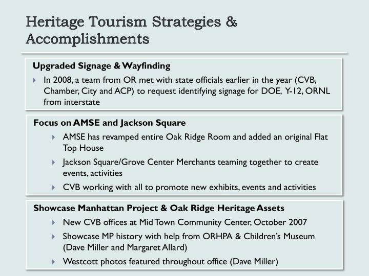 Heritage Tourism Strategies & Accomplishments