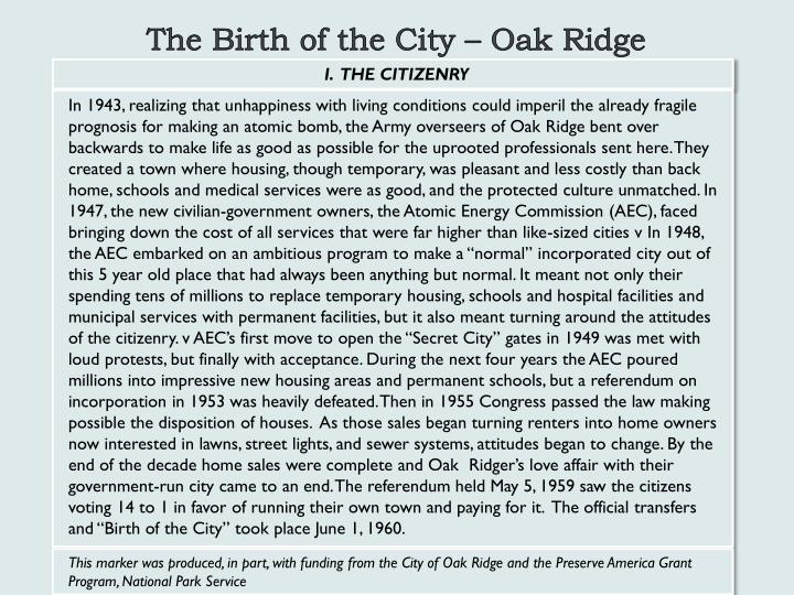 The Birth of the City – Oak Ridge