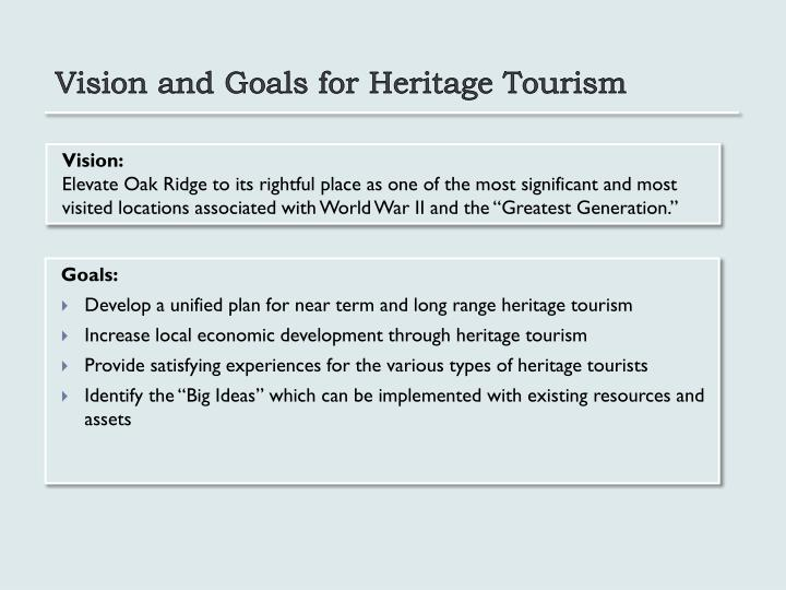 Vision and Goals for Heritage Tourism