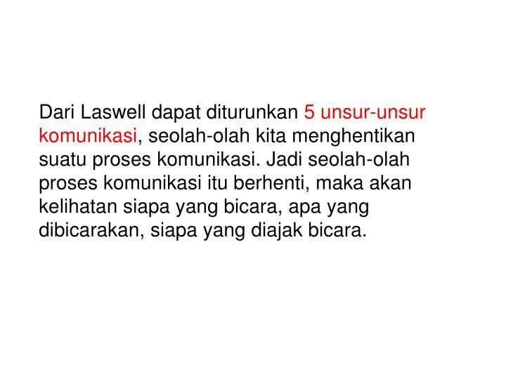 Dari Laswell dapat diturunkan