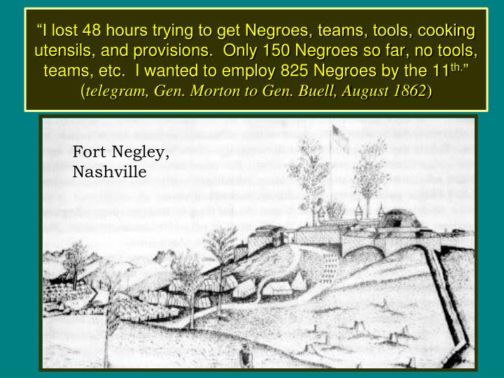 """I lost 48 hours trying to get Negroes, teams, tools, cooking utensils, and provisions.  Only 150 Negroes so far, no tools, teams, etc.  I wanted to employ 825 Negroes by the 11"