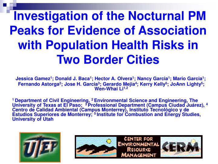 Investigation of the Nocturnal PM Peaks for Evidence of Association with Population Health Risks in ...