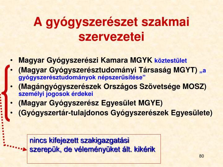 A gyógyszerészet szakmai szervezetei