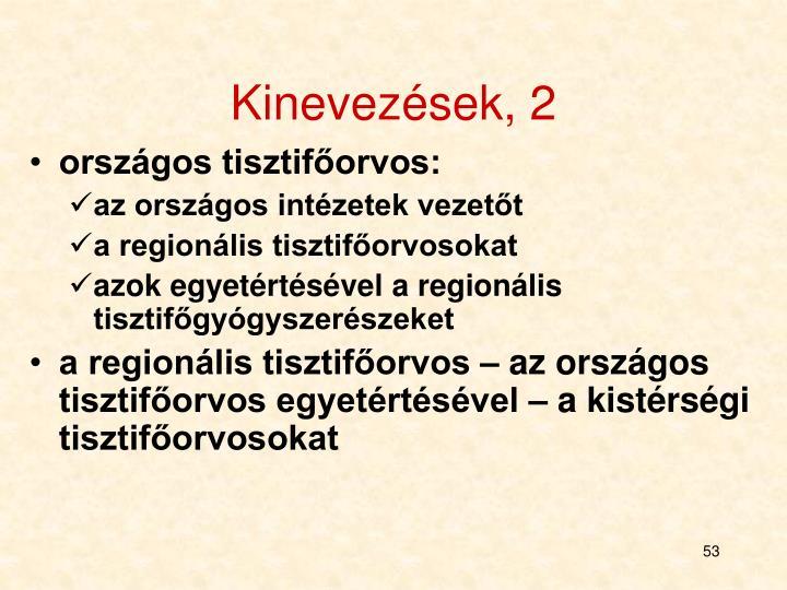 Kinevezések, 2