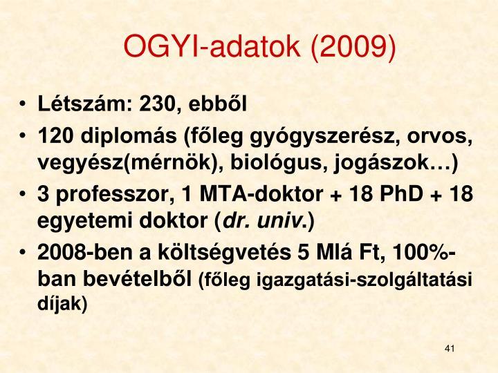 OGYI-adatok (2009)