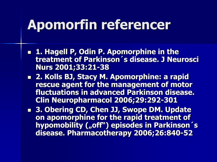 Apomorfin referencer