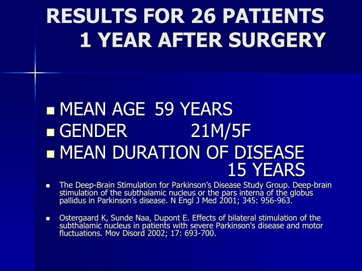 RESULTS FOR 26 PATIENTS