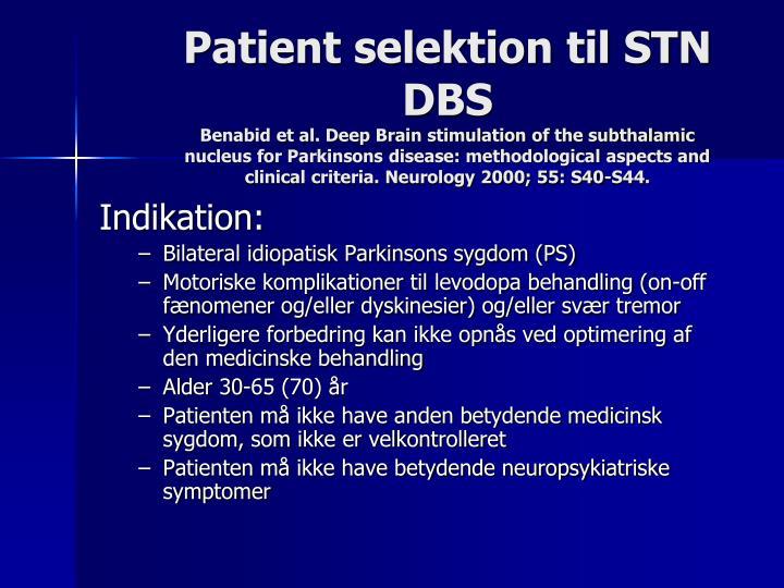 Patient selektion til STN DBS