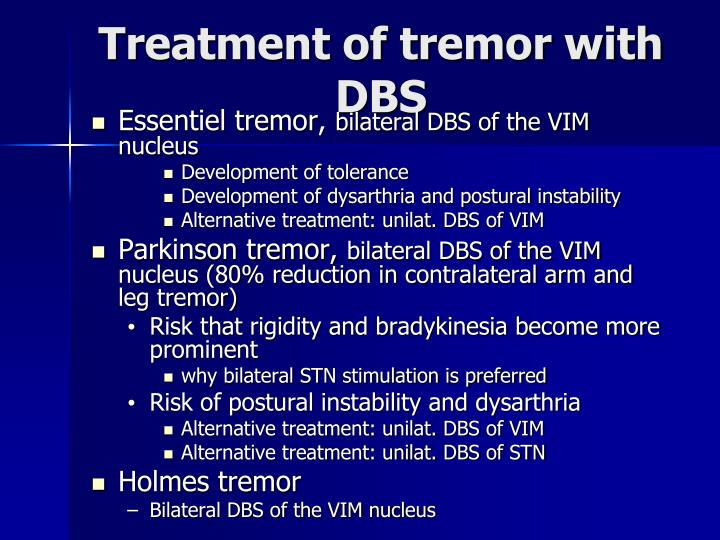 Treatment of tremor with DBS