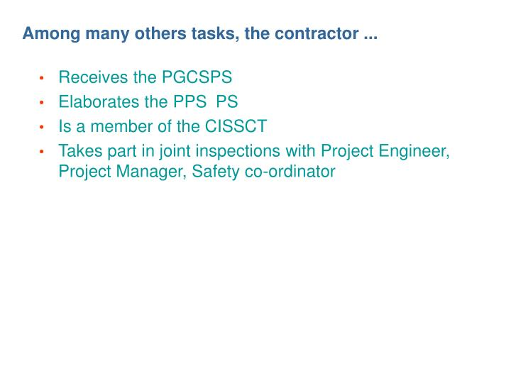 Among many others tasks, the contractor ...
