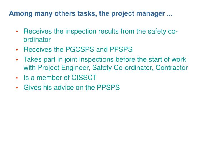 Among many others tasks, the project manager ...