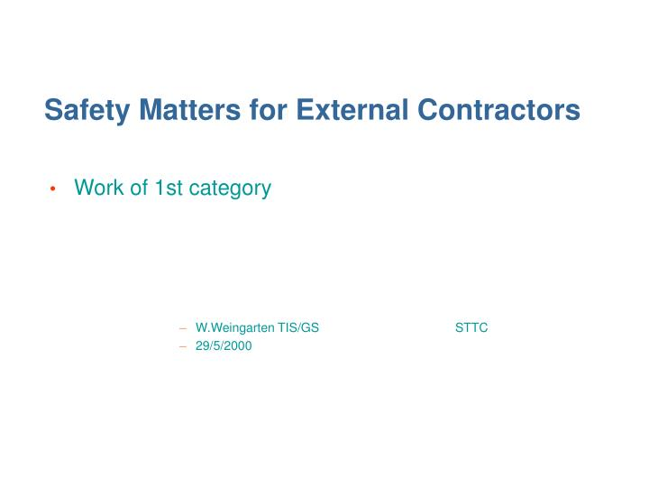 Safety Matters for External Contractors