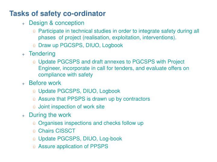 Tasks of safety co-ordinator