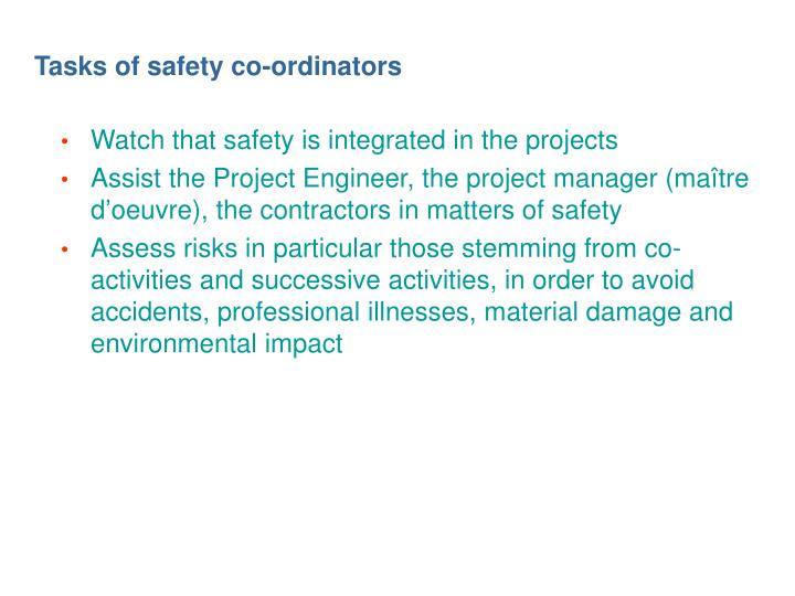 Tasks of safety co-ordinators
