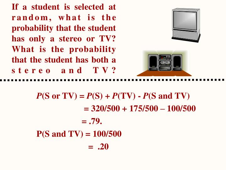 If a student is selected at random, what is the probability that the student has only a stereo or TV? What is the probability that the student has both a stereo and TV?