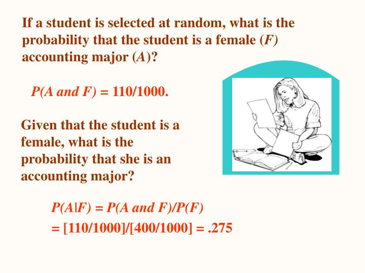 If a student is selected at random, what is the probability that the student is a female (