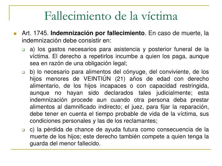 Fallecimiento de la víctima