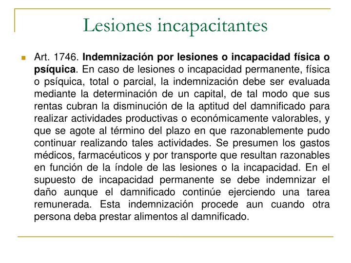 Lesiones incapacitantes