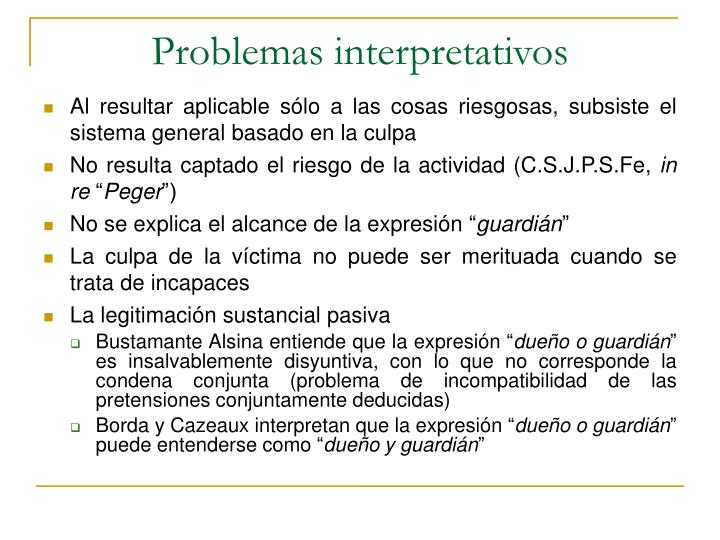 Problemas interpretativos