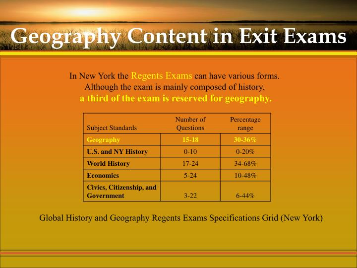 Geography Content in Exit Exams