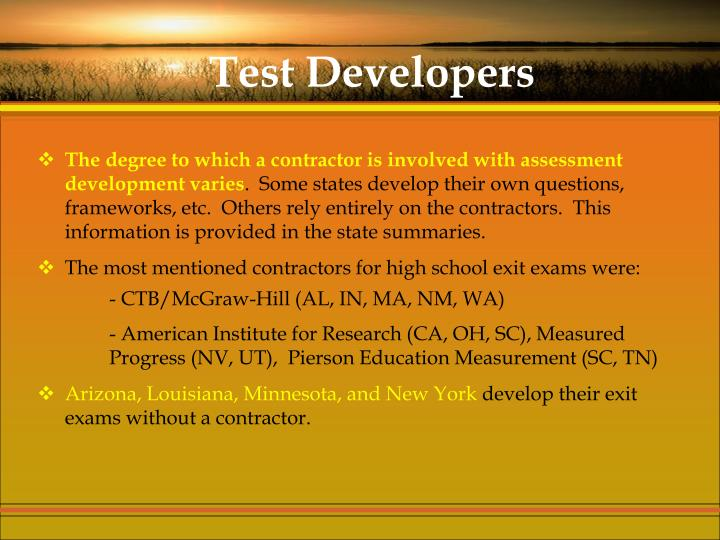Test Developers