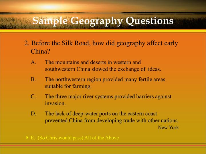 Sample Geography Questions