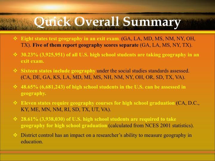 Quick Overall Summary