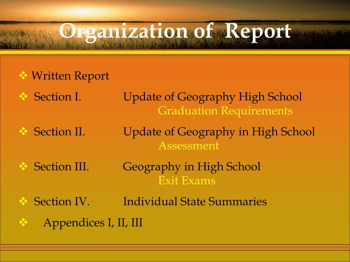 Organization of  Report