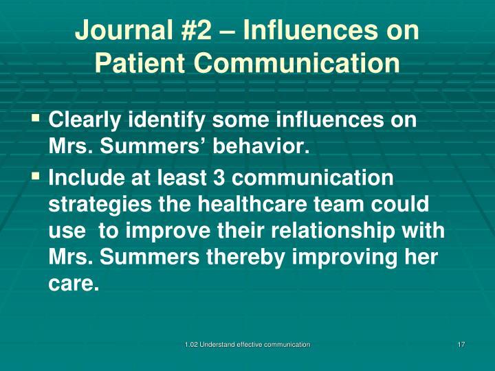 Journal #2 – Influences on Patient Communication