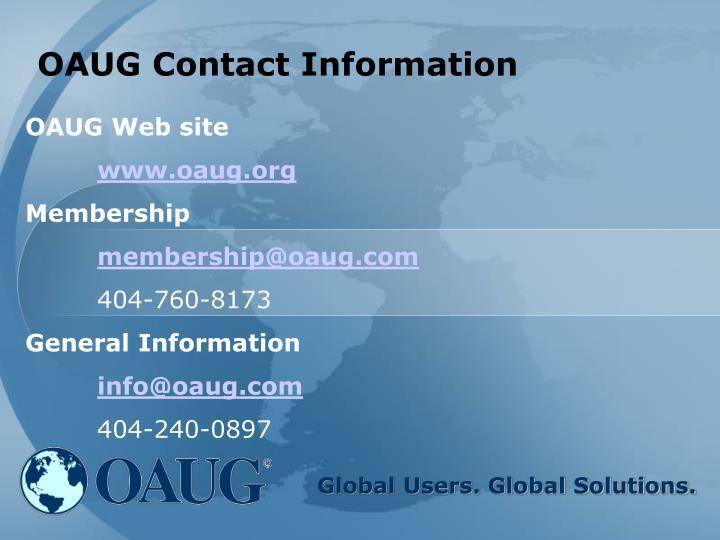 OAUG Contact Information