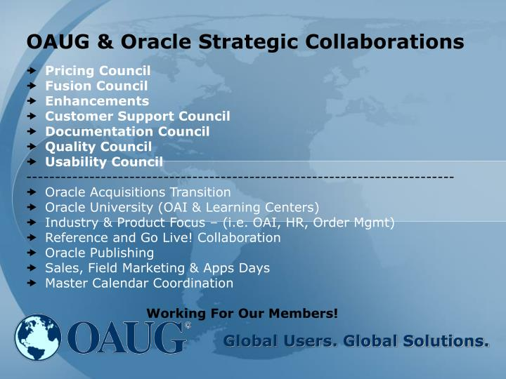 OAUG & Oracle Strategic Collaborations