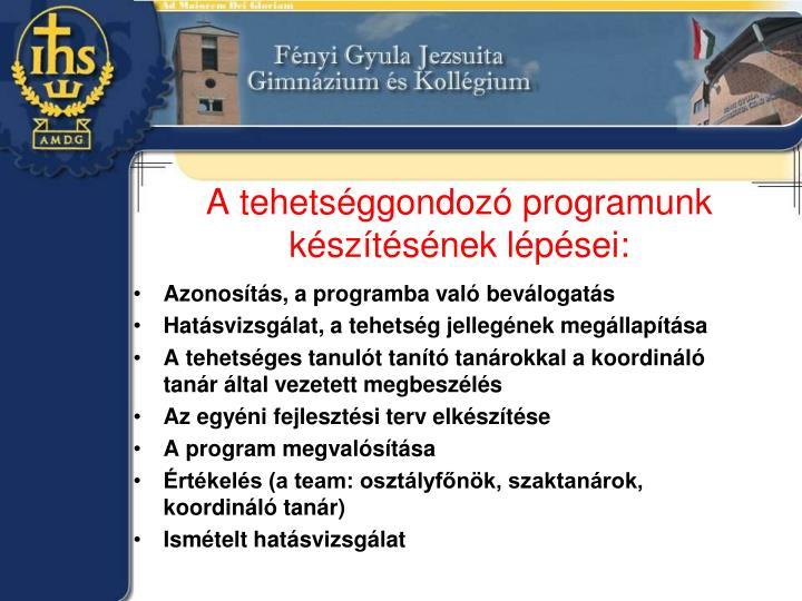 A tehetséggondozó programunk készítésének lépései: